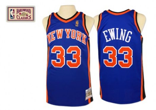 Men's Patrick Ewing New York Knicks Mitchell and Ness Authentic Royal Blue Throwback Jersey